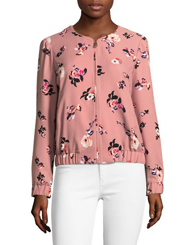 Ivanka Trump Long Sleeve Floral Print Soft Bomber Jacket-PINK-12