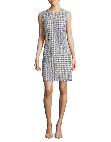Karl Lagerfeld Paris Split Neck Tweed Sheath Dress-WHITE/ BLACK-12