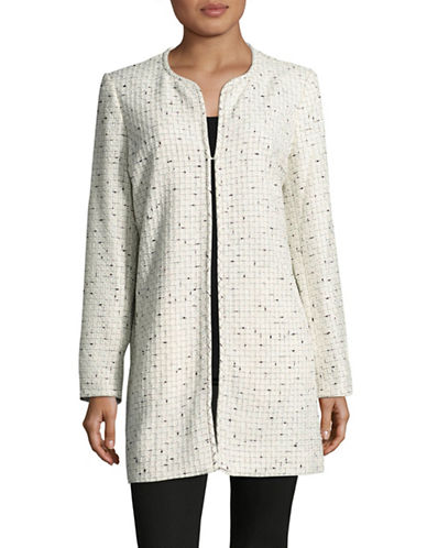 Karl Lagerfeld Paris Tweed Topper Jacket-IVORY/BLACK-Large