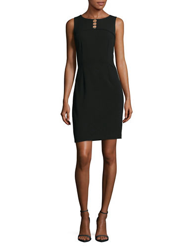 Ivanka Trump Sleeveless Keyhole Sheath Dress-BLACK-4