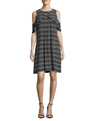 Ivanka Trump Printed Cold-Shoulder Dress-BLACK/IVORY-Small