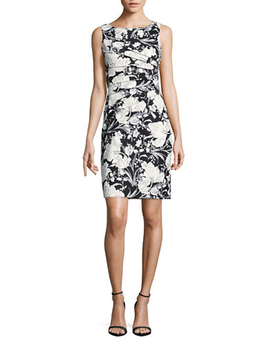 Ivanka Trump Starburst Floral Sheath-BLACK/NAVY-10