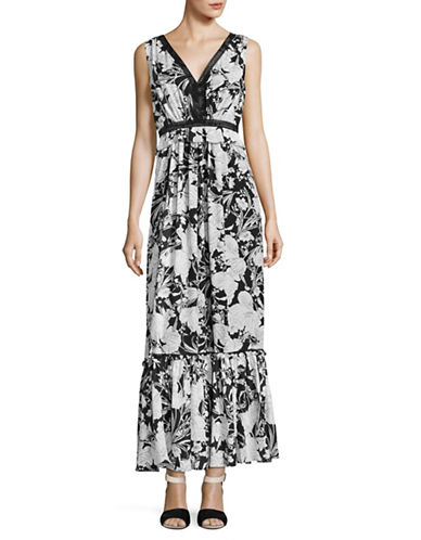 Ivanka Trump Floral Peplum Maxi Dress-BLACK/IVORY-10
