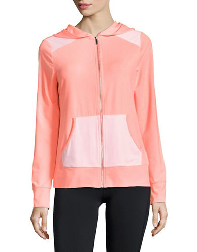 Ivanka Trump Mesh Detailed Zip Jacket-NEON CORAL-Medium