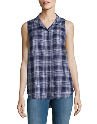 G.H. Bass & Co. Twill Plaid Top-BLUE-X-Small