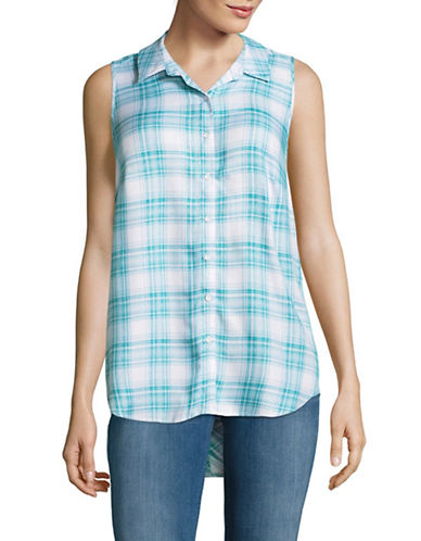 G.H. Bass & Co. Twill Plaid Top-TEAL-Small