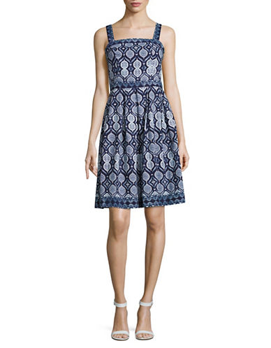 Ivanka Trump Tile Print Apron Dress-MULTI-6