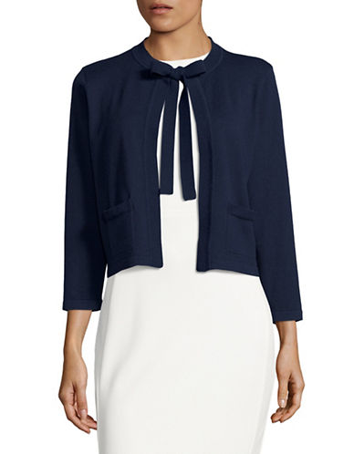 Karl Lagerfeld Paris Tie-Neck Shrug-NAVY-Small