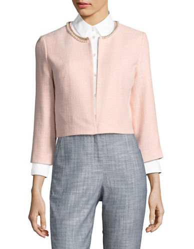 Karl Lagerfeld Paris Embellished Chain Jacket-ROSE-Small