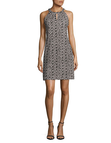 Karl Lagerfeld Paris Halter Neck Sheath Dress-BLACK/ IVORY-4