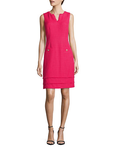 Karl Lagerfeld Paris Fringed Tweed Sheath Dress-BRIGHT PEONY-12