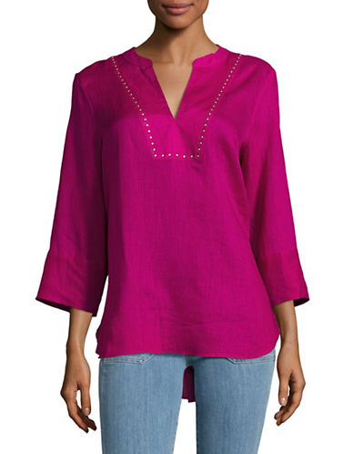 Ivanka Trump Studded Linen Top-PINK-Small 89263013_PINK_Small