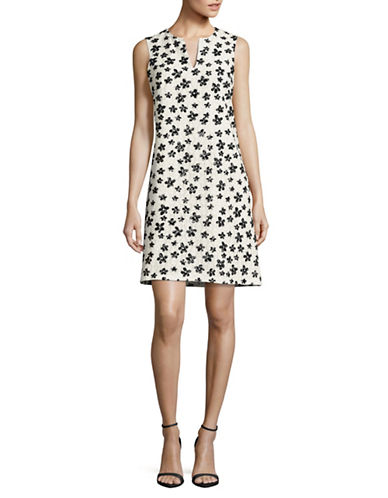 Karl Lagerfeld Paris Flocked Floral Lace Shift Dress-IVORY/BLACK-14
