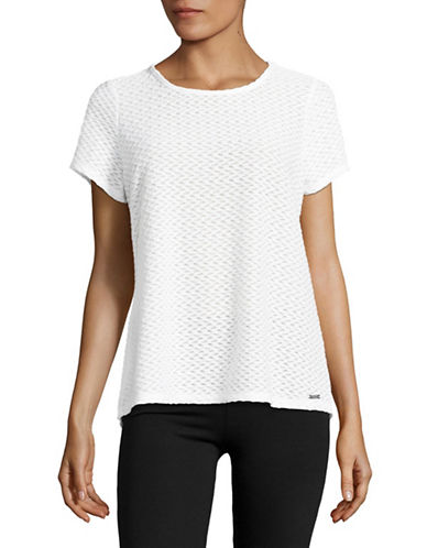 Ivanka Trump Textured Back Cut-Out Tee-WHITE-X-Small 89161984_WHITE_X-Small