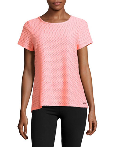 Ivanka Trump Textured Back Cut-Out Tee-NEON CORAL-Medium