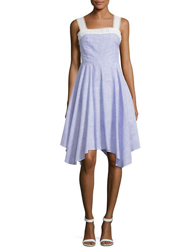 Ivanka Trump Striped Lace-Trim Apron Dress-BLUE/WHITE-12