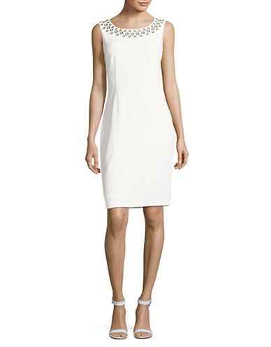 Ivanka Trump Grommet Sheath Dress-IVORY-8