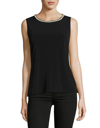 Miscellaneous Necklace Trimmed Shell Top-BLACK-Small 89171580_BLACK_Small