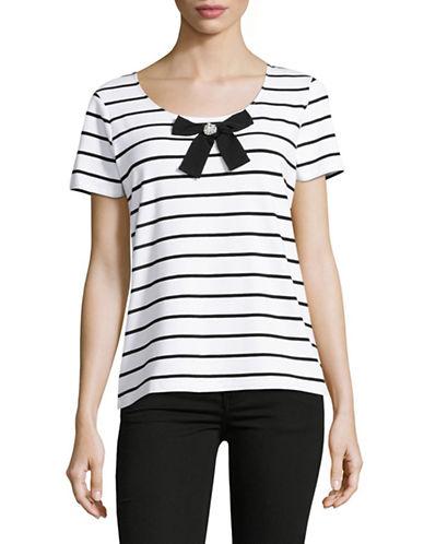 Miscellaneous Striped Bow Tee-WHITE-X-Small 89171601_WHITE_X-Small