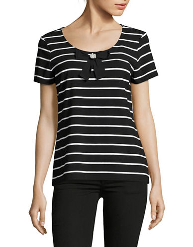 Miscellaneous Striped Bow Tee-BLACK-X-Large 89171600_BLACK_X-Large