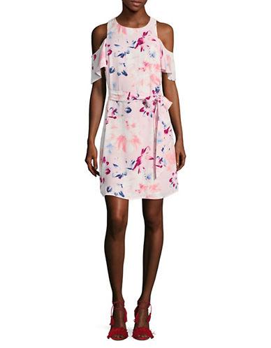 Ivanka Trump Floral-Printed Cold-Shoulder Dress-BLUSH-14