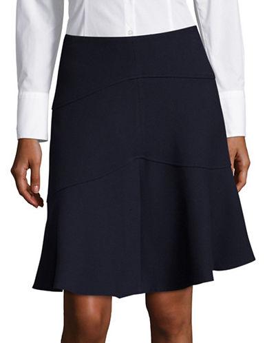 Ivanka Trump Textured Flared Skirt-BLUE-4