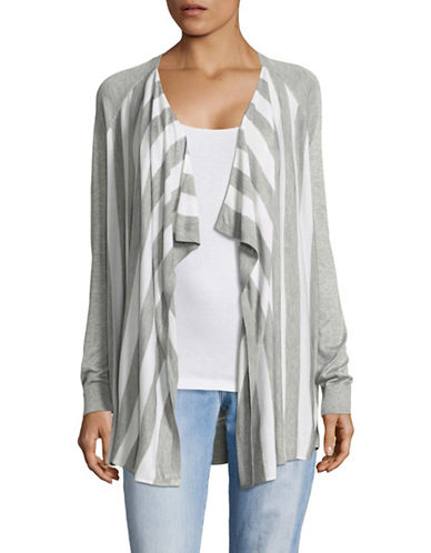 G.H. Bass & Co. Striped Fine Gauge Cardigan-GREY-X-Small 89191207_GREY_X-Small