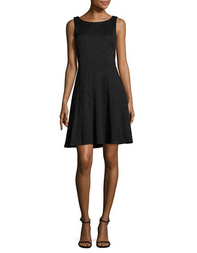 Karl Lagerfeld Paris Fit-and-Flare Jacquard Dress-BLACK-6
