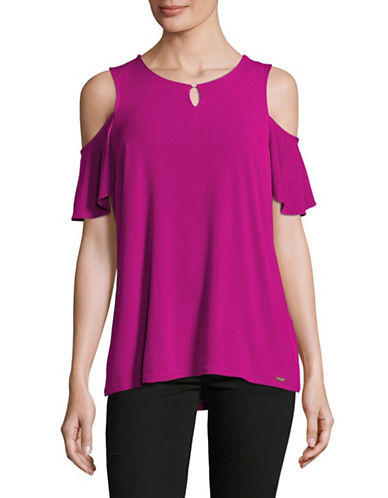 Ivanka Trump Short Sleeve Cold-Shoulder Knit Top-PINK-Large 89262994_PINK_Large