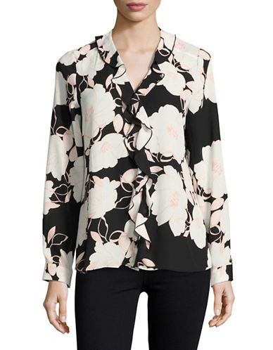 Karl Lagerfeld Paris Ruffle Front Floral Blouse-BLACK/GREY-Large