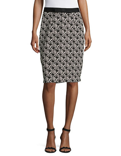 Karl Lagerfeld Paris Jacquard Pencil Skirt-MULTI-Small