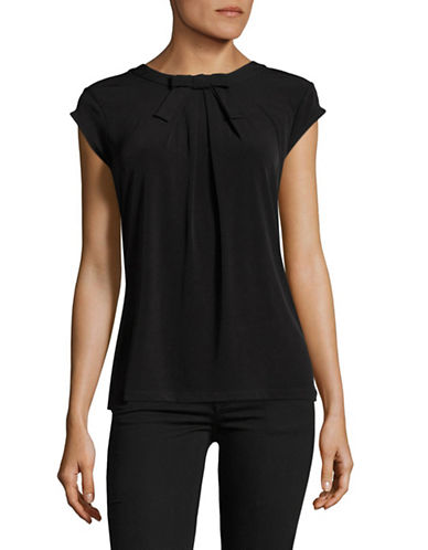 Karl Lagerfeld Paris Bow Neck Matte Jersey Top-BLACK-Large