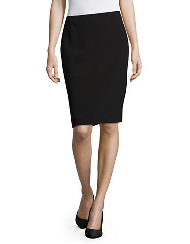 Karl Lagerfeld Paris Solid Pencil Skirt-BLACK-4