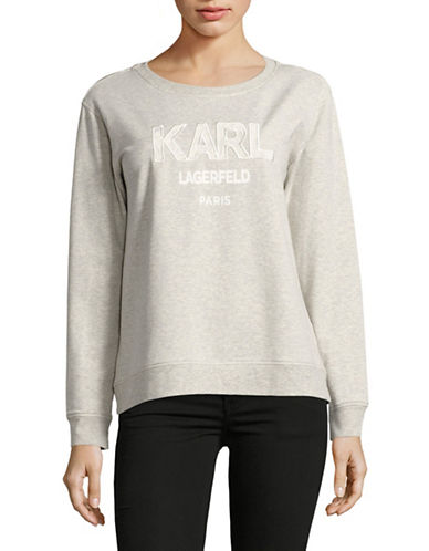 Karl Lagerfeld Paris Lace Embroidered Sweatshirt-GREY-Medium 89116375_GREY_Medium