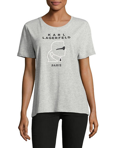 Karl Lagerfeld Paris Head Logo Tee-GREY-X-Small 89026735_GREY_X-Small
