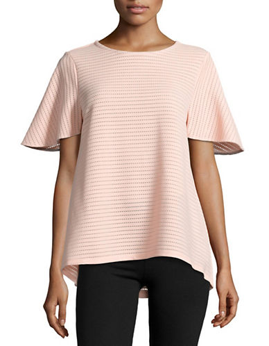 Ivanka Trump Perforated A-Line Top-BLUSH-Medium