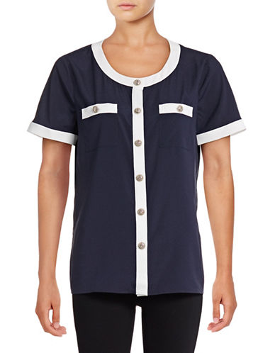 Karl Lagerfeld Paris Contrast Crepe Utility Blouse-BLUE-Medium