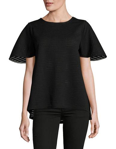 Ivanka Trump Perforated A-Line Top-BLACK-Medium