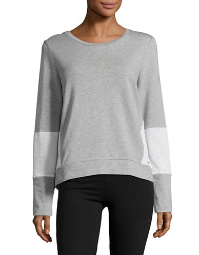 Ivanka Trump Cross Back Terry Sweatshirt-HEATHER GREY-Medium