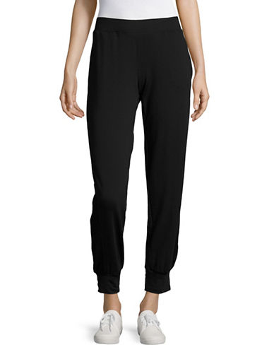 Ivanka Trump Mesh Panel Joggers-BLACK-Medium 89138883_BLACK_Medium