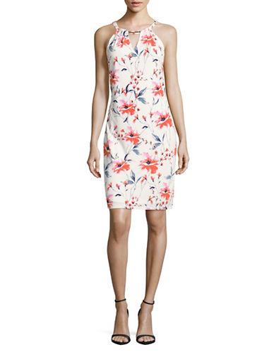 Ivanka Trump Sleeveless Floral Print Jersey Shift Dress-MULTI-X-Large