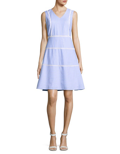 Ivanka Trump Striped A-Line Dress-BLUE MULTI-12