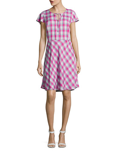 G.H. Bass & Co. Plaid Flared T-Shirt Dress-PINK MULTI-Large