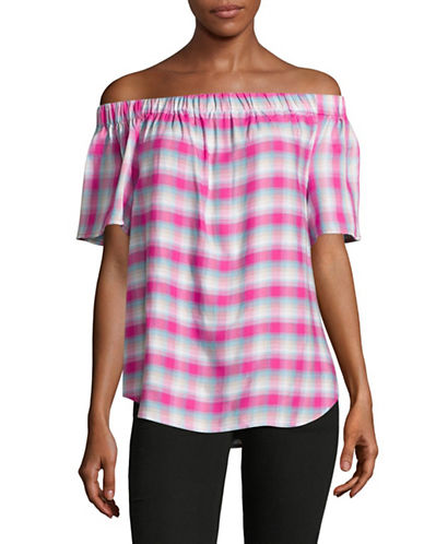 G.H. Bass & Co. Off-The-Shoulder Plaid Top-PINK-X-Large 89157460_PINK_X-Large