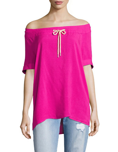 G.H. Bass & Co. Crosshatch-Stitch Off-Shoulder Top-PINK-X-Small 89157445_PINK_X-Small