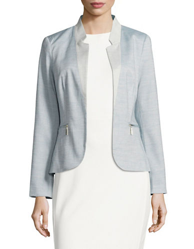 Ivanka Trump Chambray Notched Collar Blazer-BLUE-4