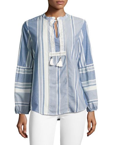 Ivanka Trump Striped Bell Sleeve Peasant Top-BLUE-X-Small 89209566_BLUE_X-Small
