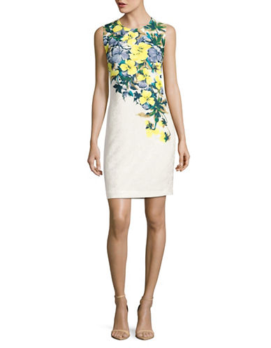 Karl Lagerfeld Paris Falling Floral Sheath Dress-MULTI-10