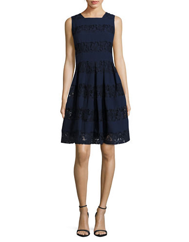 Karl Lagerfeld Paris Sleeveless Lace Fit-and-Flare Dress-NAVY-6