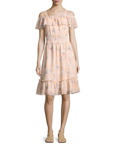 Tommy Hilfiger Spring Garden A-Line Dress-PEACH MULTI-10